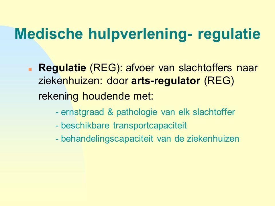 Medische hulpverlening- regulatie n Regulatie (REG): afvoer van slachtoffers naar ziekenhuizen: door arts-regulator (REG) rekening houdende met: - ern