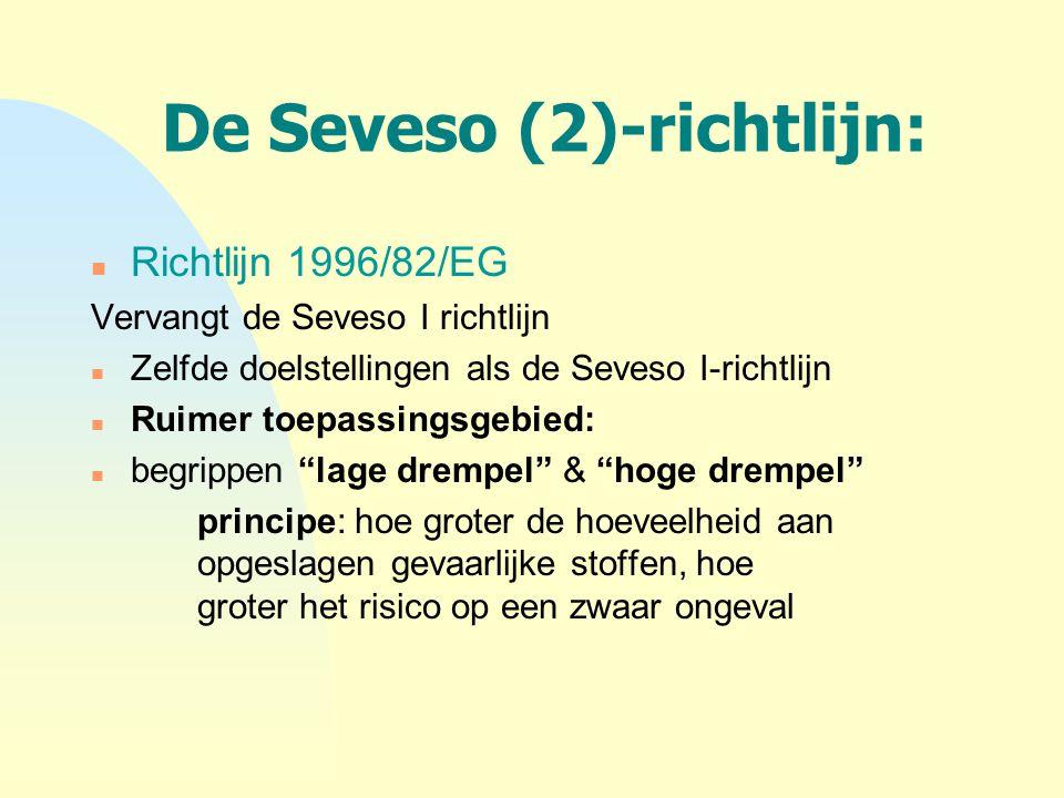 De Seveso (2)-richtlijn: n Richtlijn 1996/82/EG Vervangt de Seveso I richtlijn n Zelfde doelstellingen als de Seveso I-richtlijn n Ruimer toepassingsg