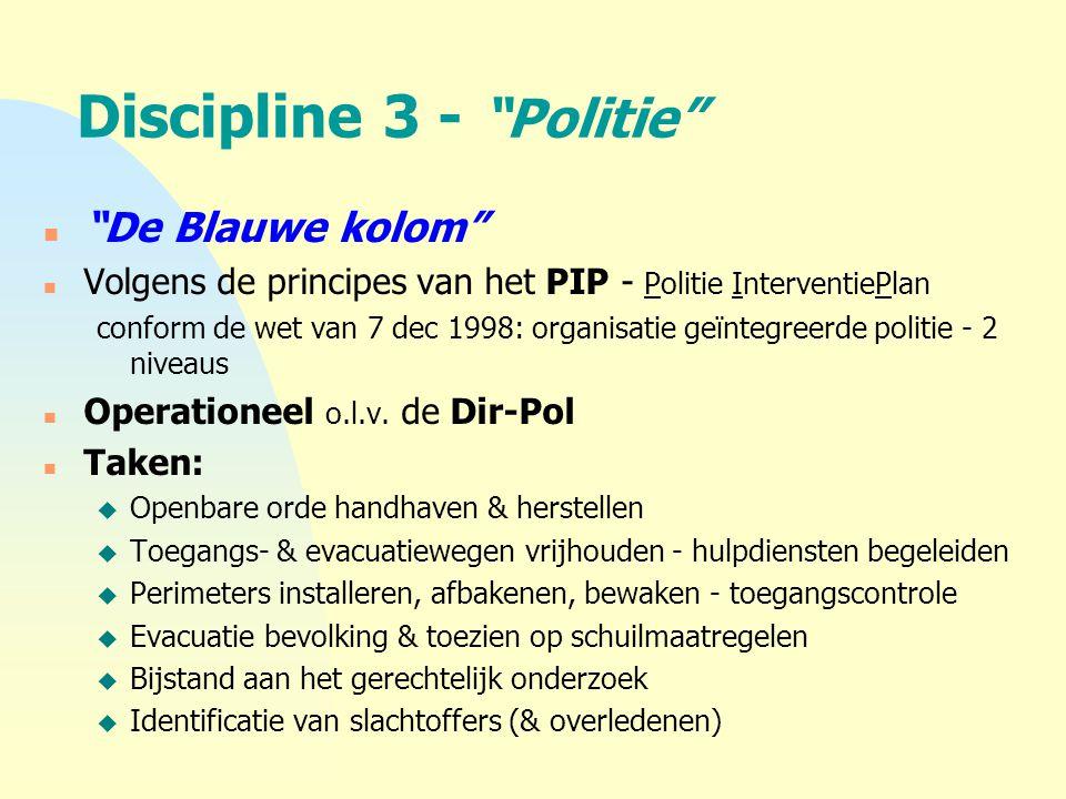 """Discipline 3 - """"Politie"""" n """"De Blauwe kolom"""" n Volgens de principes van het PIP - Politie InterventiePlan conform de wet van 7 dec 1998: organisatie g"""