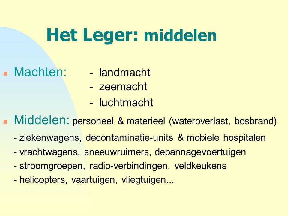 Het Leger: middelen n Machten: - landmacht - zeemacht - luchtmacht n Middelen: personeel & materieel (wateroverlast, bosbrand) - ziekenwagens, deconta