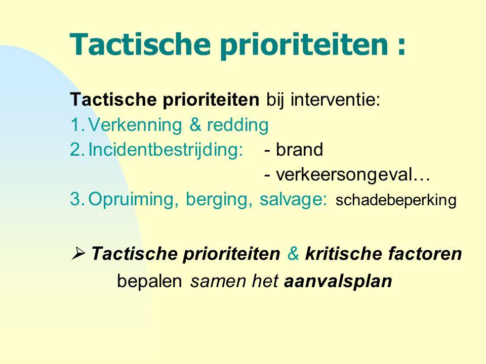 Tactische prioriteiten : Tactische prioriteiten bij interventie: 1.Verkenning & redding 2.Incidentbestrijding: - brand - verkeersongeval… 3.Opruiming,