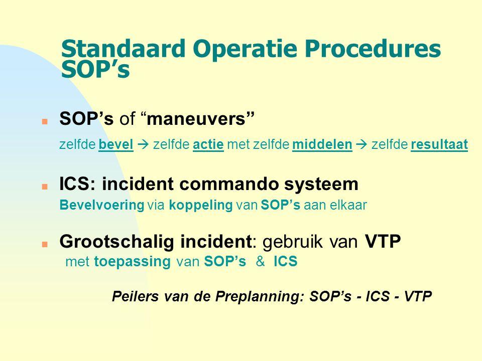 """Standaard Operatie Procedures SOP's n SOP's of """"maneuvers"""" zelfde bevel  zelfde actie met zelfde middelen  zelfde resultaat n ICS: incident commando"""
