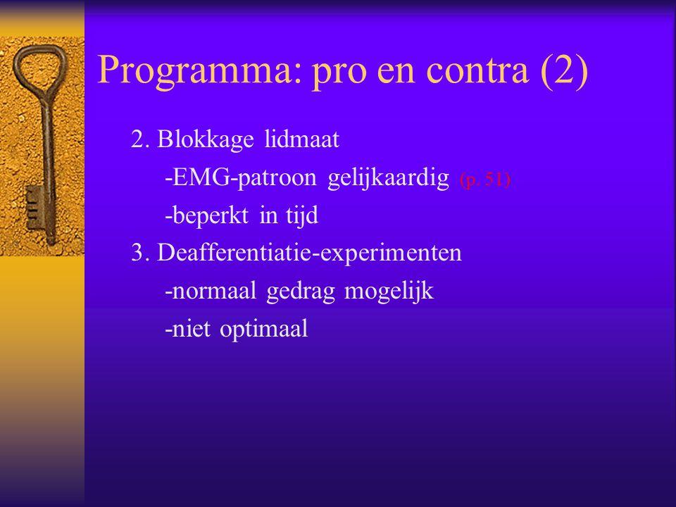 Programma: pro en contra (2) 2. Blokkage lidmaat -EMG-patroon gelijkaardig (p. 51) -beperkt in tijd 3. Deafferentiatie-experimenten -normaal gedrag mo