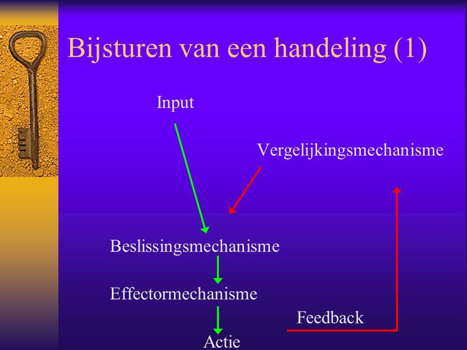 Bijsturen van een handeling (1) Input Vergelijkingsmechanisme Beslissingsmechanisme Effectormechanisme Feedback Actie
