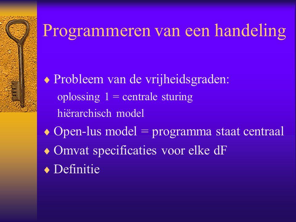 Programmeren van een handeling  Probleem van de vrijheidsgraden: oplossing 1 = centrale sturing hiërarchisch model  Open-lus model = programma staat