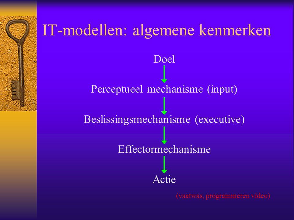 IT-modellen: algemene kenmerken Doel Perceptueel mechanisme (input) Beslissingsmechanisme (executive) Effectormechanisme Actie (vaatwas, programmeren