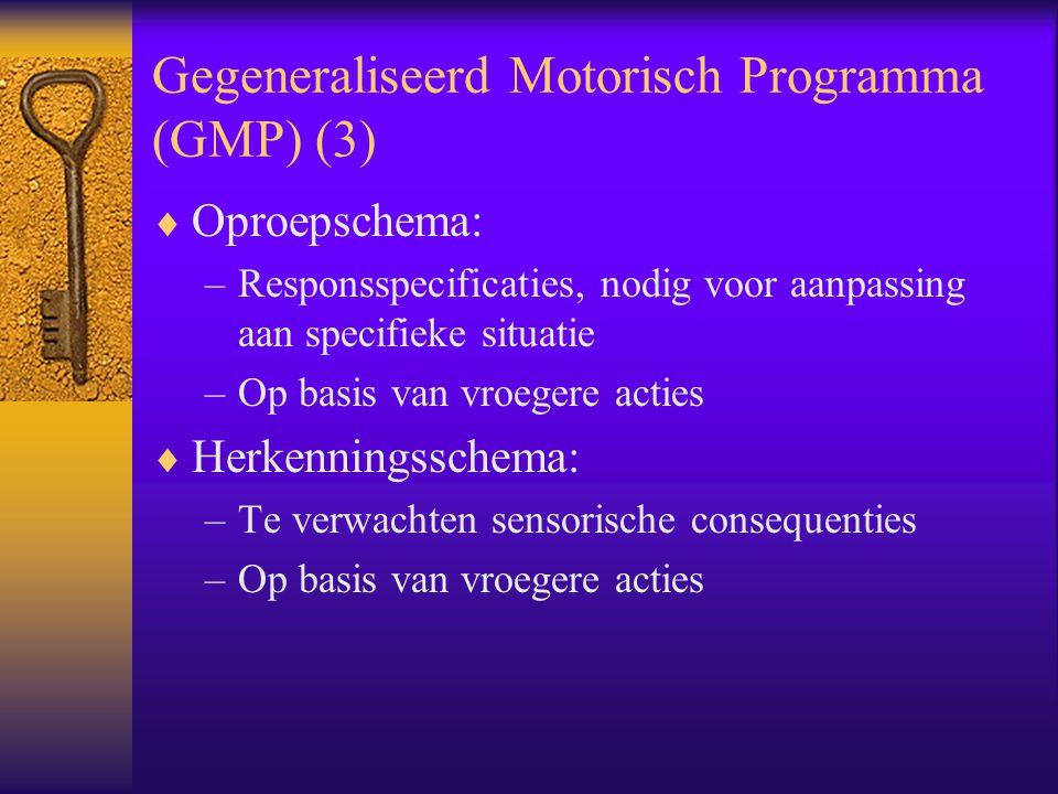 Gegeneraliseerd Motorisch Programma (GMP) (3)  Oproepschema: –Responsspecificaties, nodig voor aanpassing aan specifieke situatie –Op basis van vroeg