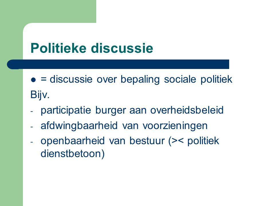 Politieke discussie = discussie over bepaling sociale politiek Bijv. - participatie burger aan overheidsbeleid - afdwingbaarheid van voorzieningen - o