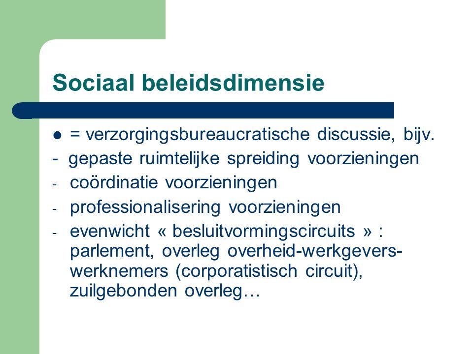 Sociaal beleidsdimensie = verzorgingsbureaucratische discussie, bijv. - gepaste ruimtelijke spreiding voorzieningen - coördinatie voorzieningen - prof