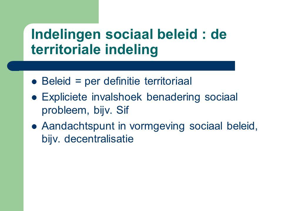 Indelingen sociaal beleid : de territoriale indeling Beleid = per definitie territoriaal Expliciete invalshoek benadering sociaal probleem, bijv. Sif