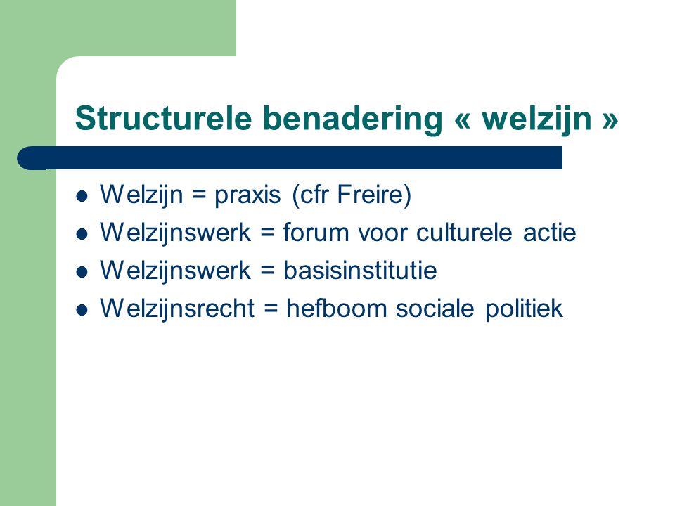 Structurele benadering « welzijn » Welzijn = praxis (cfr Freire) Welzijnswerk = forum voor culturele actie Welzijnswerk = basisinstitutie Welzijnsrech