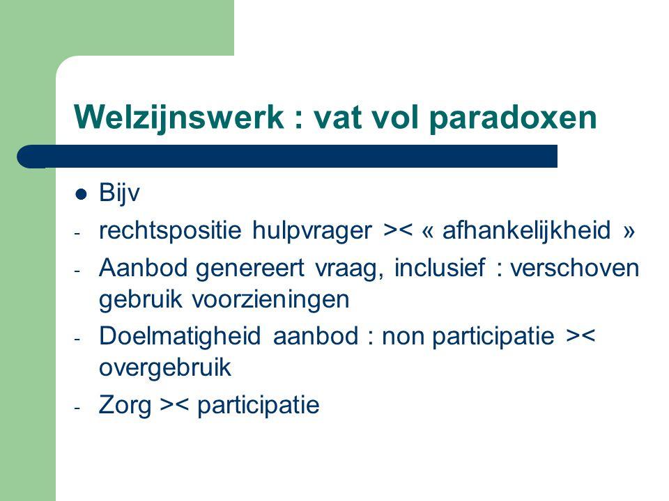 Bijv - rechtspositie hulpvrager >< « afhankelijkheid » - Aanbod genereert vraag, inclusief : verschoven gebruik voorzieningen - Doelmatigheid aanbod :