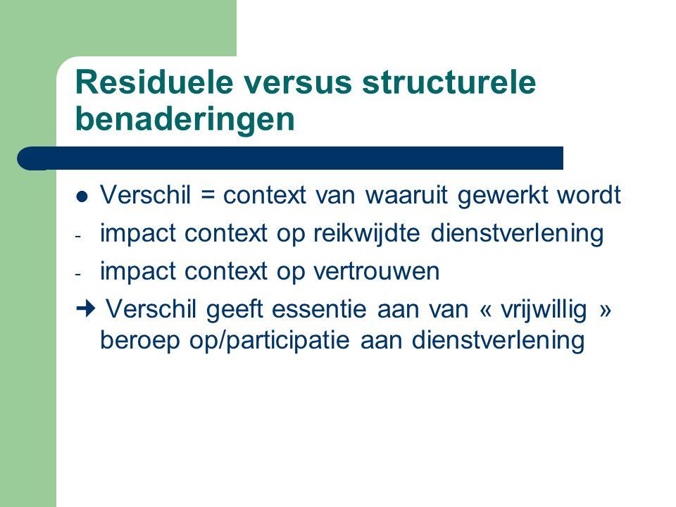 Residuele versus structurele benaderingen Verschil = context van waaruit gewerkt wordt - impact context op reikwijdte dienstverlening - impact context