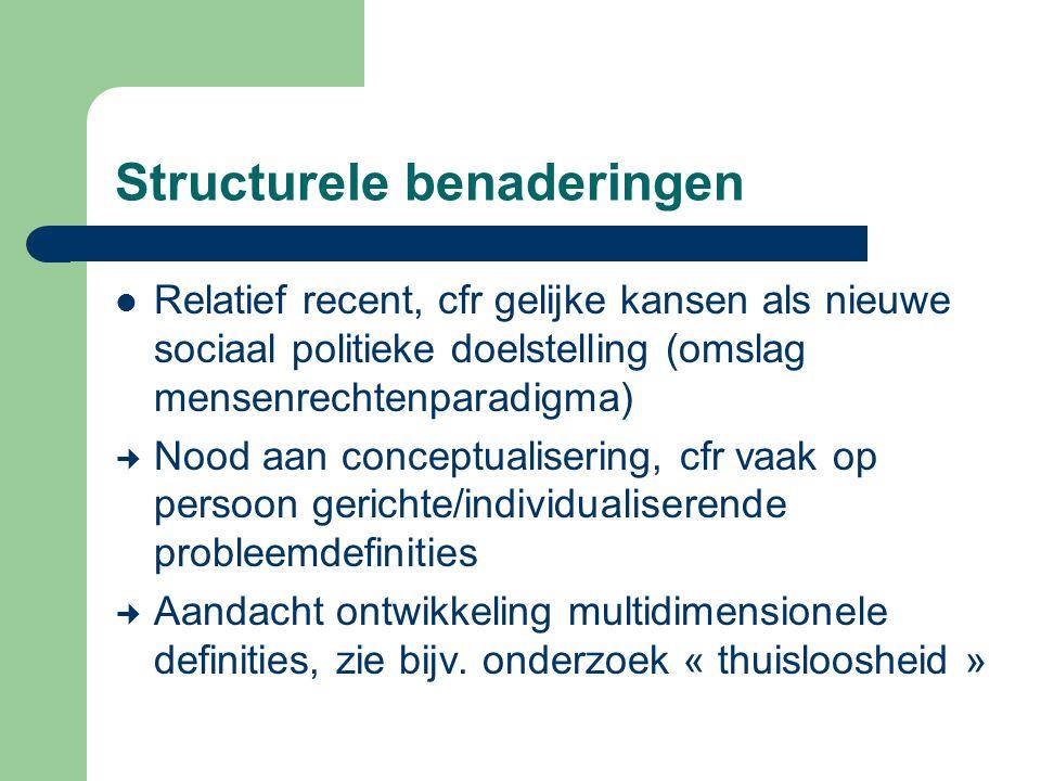 Structurele benaderingen Relatief recent, cfr gelijke kansen als nieuwe sociaal politieke doelstelling (omslag mensenrechtenparadigma) Nood aan concep