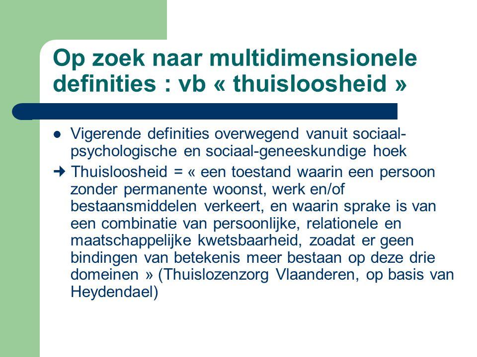 Op zoek naar multidimensionele definities : vb « thuisloosheid » Vigerende definities overwegend vanuit sociaal- psychologische en sociaal-geneeskundi