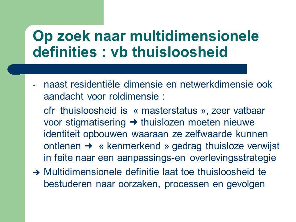 Op zoek naar multidimensionele definities : vb thuisloosheid - naast residentiële dimensie en netwerkdimensie ook aandacht voor roldimensie : cfr thui