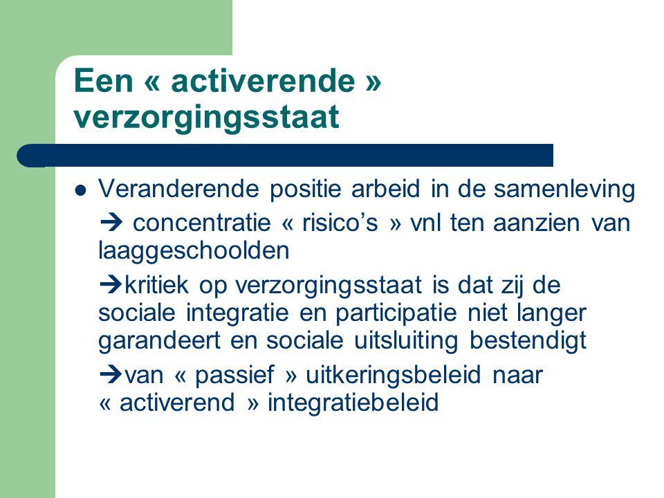Een « activerende » verzorgingsstaat Veranderende positie arbeid in de samenleving  concentratie « risico's » vnl ten aanzien van laaggeschoolden 