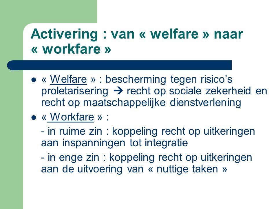 Activering : van « welfare » naar « workfare » « Welfare » : bescherming tegen risico's proletarisering  recht op sociale zekerheid en recht op maats