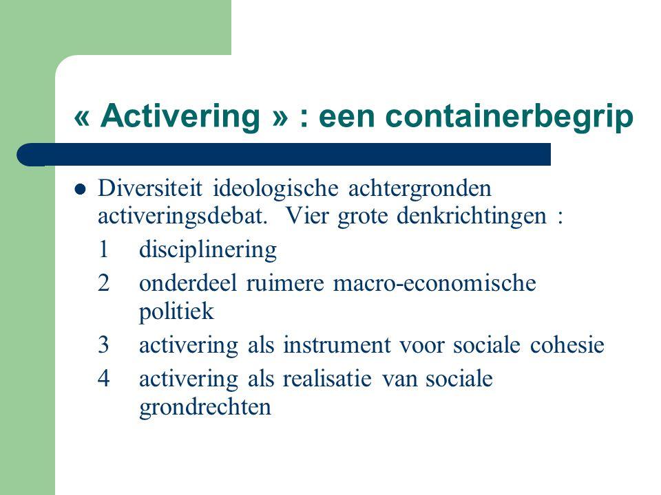 « Activering » : een containerbegrip Diversiteit ideologische achtergronden activeringsdebat. Vier grote denkrichtingen : 1disciplinering 2 onderdeel
