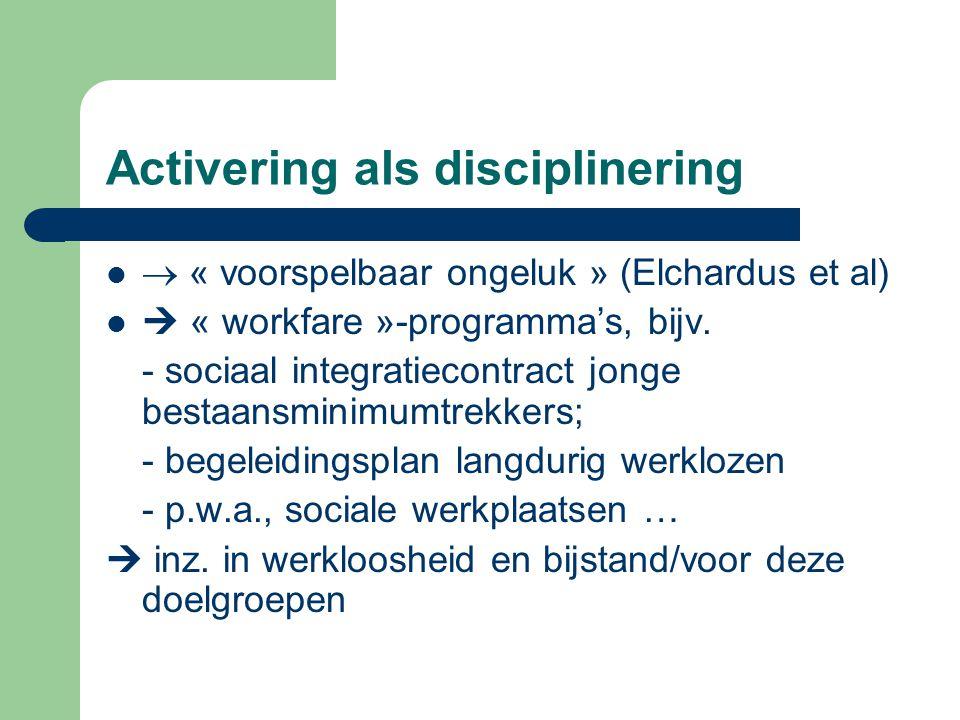 Activering als disciplinering  « voorspelbaar ongeluk » (Elchardus et al)  « workfare »-programma's, bijv. - sociaal integratiecontract jonge bestaa