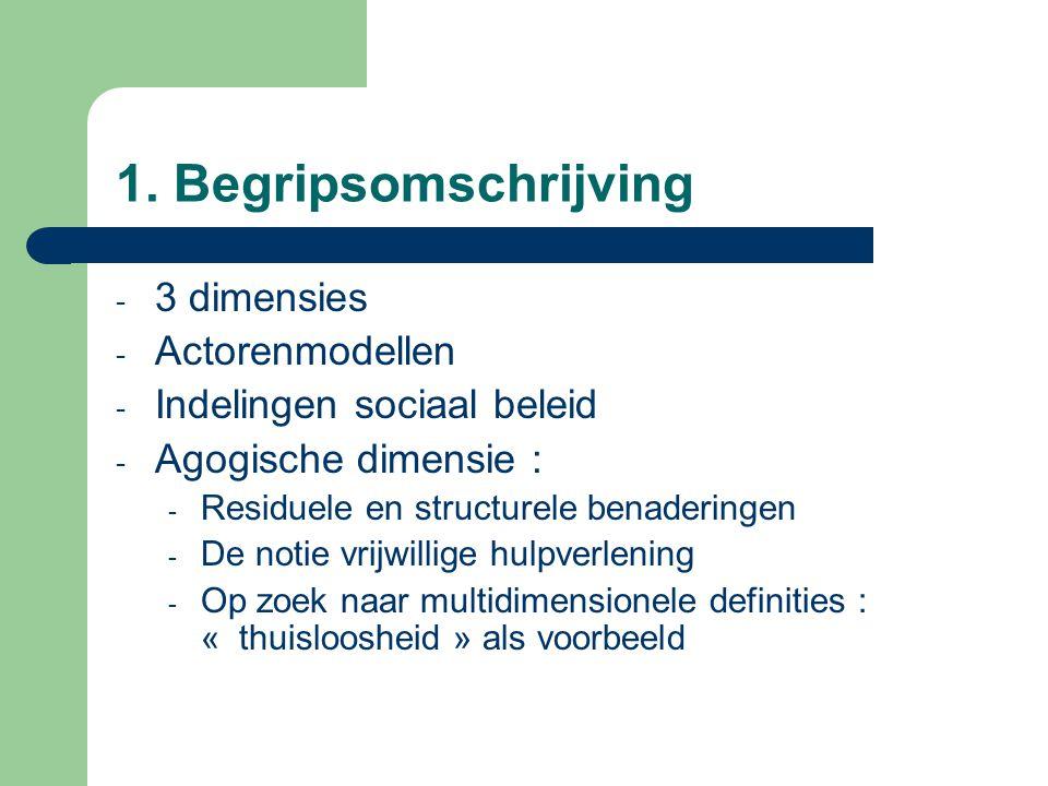 1. Begripsomschrijving - 3 dimensies - Actorenmodellen - Indelingen sociaal beleid - Agogische dimensie : - Residuele en structurele benaderingen - De
