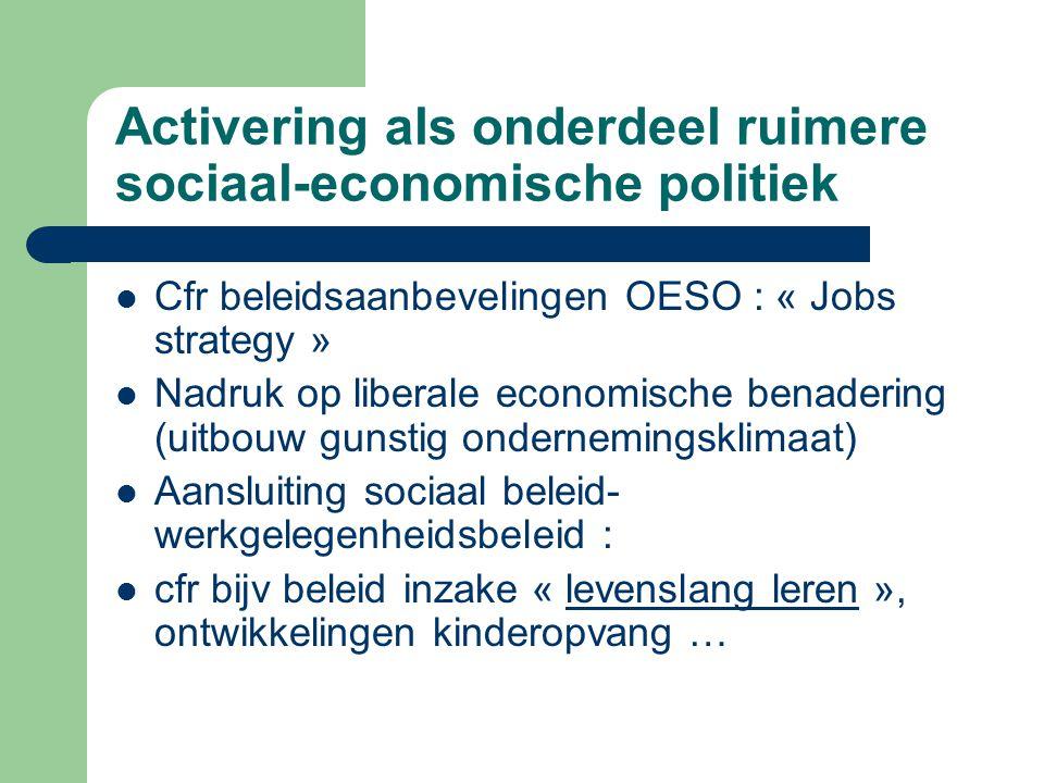 Activering als onderdeel ruimere sociaal-economische politiek Cfr beleidsaanbevelingen OESO : « Jobs strategy » Nadruk op liberale economische benader