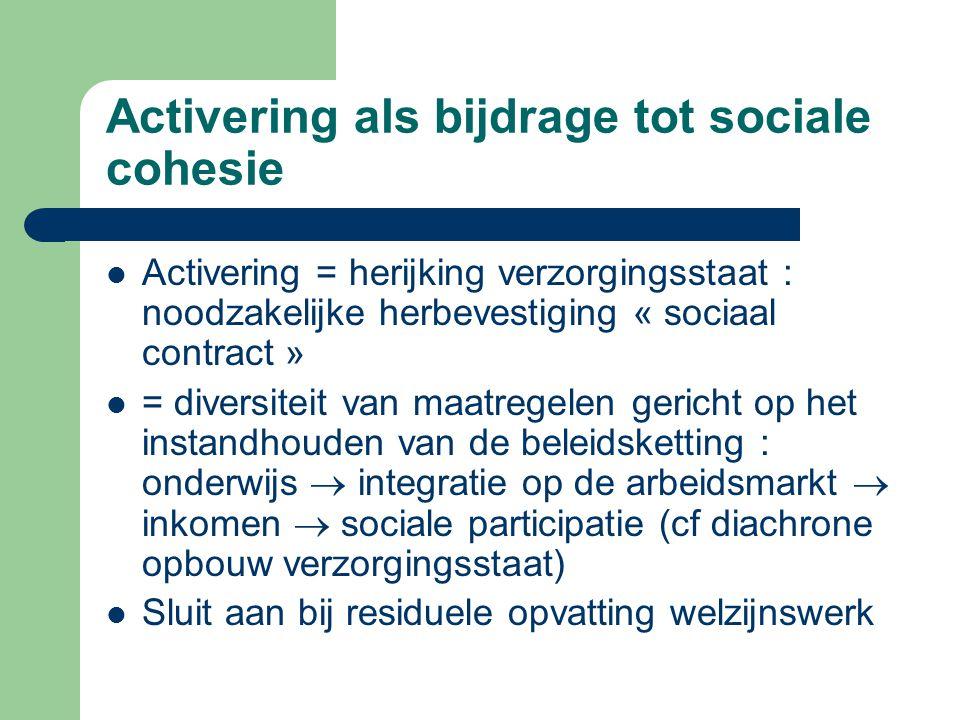 Activering als bijdrage tot sociale cohesie Activering = herijking verzorgingsstaat : noodzakelijke herbevestiging « sociaal contract » = diversiteit