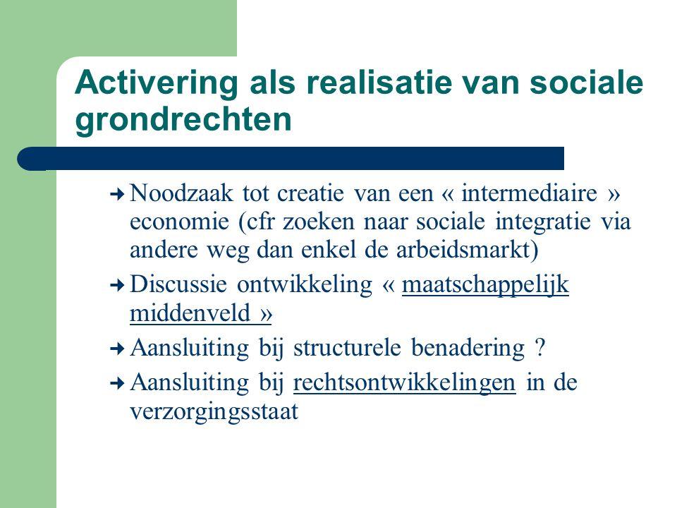 Activering als realisatie van sociale grondrechten Noodzaak tot creatie van een « intermediaire » economie (cfr zoeken naar sociale integratie via and