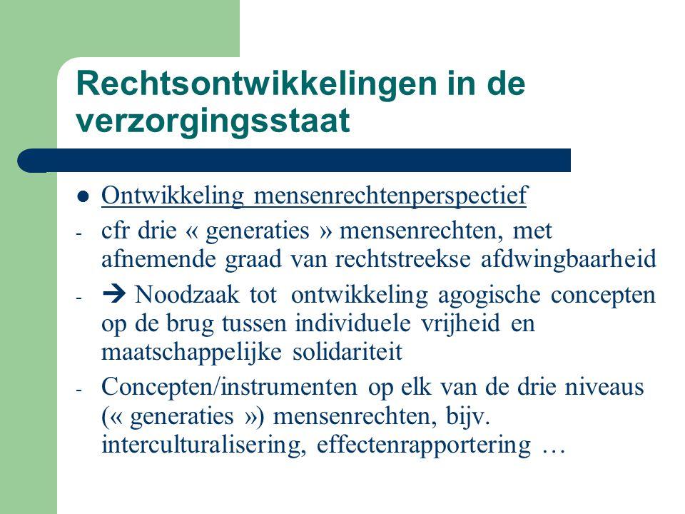 Rechtsontwikkelingen in de verzorgingsstaat Ontwikkeling mensenrechtenperspectief - cfr drie « generaties » mensenrechten, met afnemende graad van rec