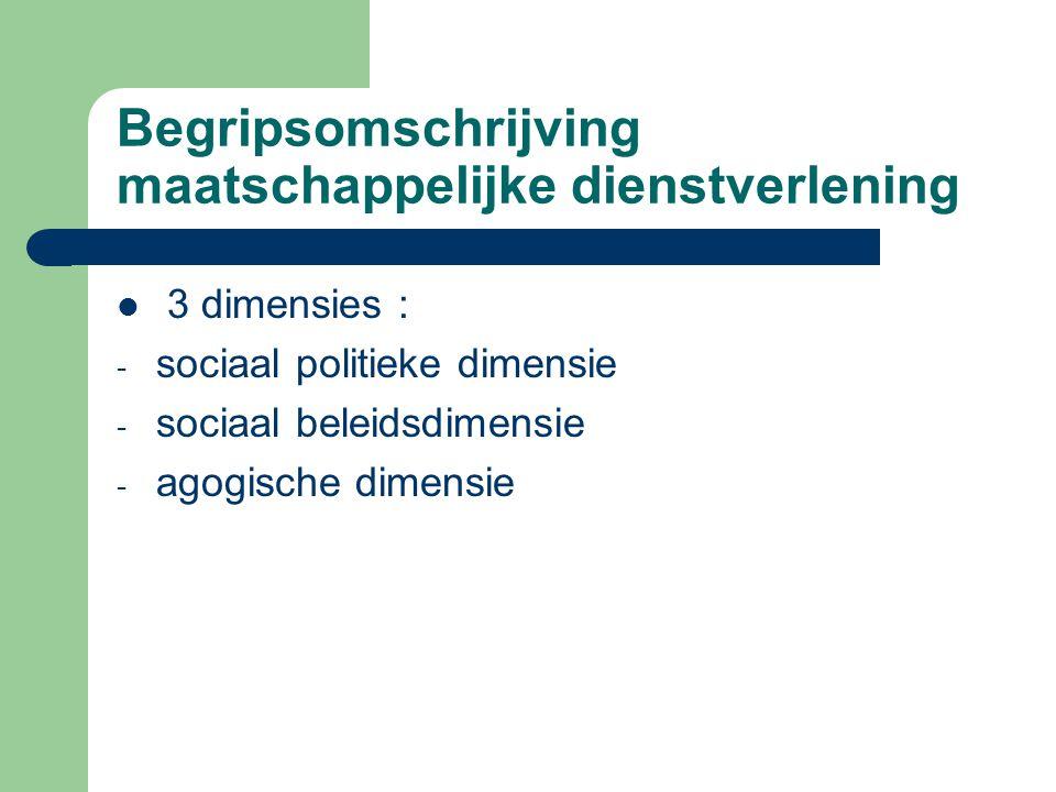 Begripsomschrijving maatschappelijke dienstverlening 3 dimensies : - sociaal politieke dimensie - sociaal beleidsdimensie - agogische dimensie