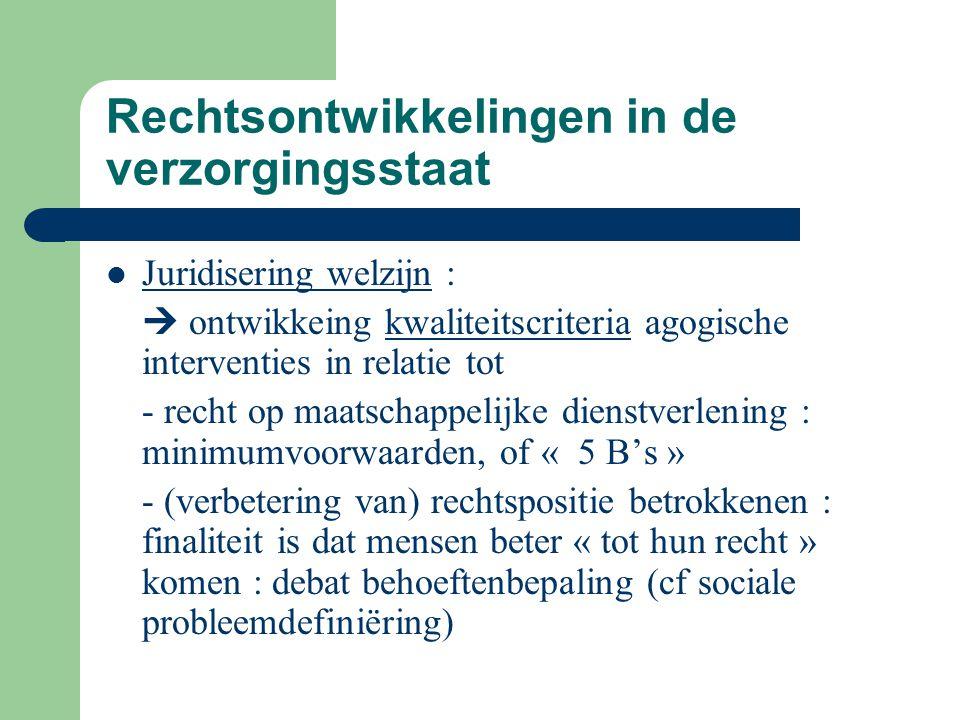 Rechtsontwikkelingen in de verzorgingsstaat Juridisering welzijn :  ontwikkeing kwaliteitscriteria agogische interventies in relatie tot - recht op m