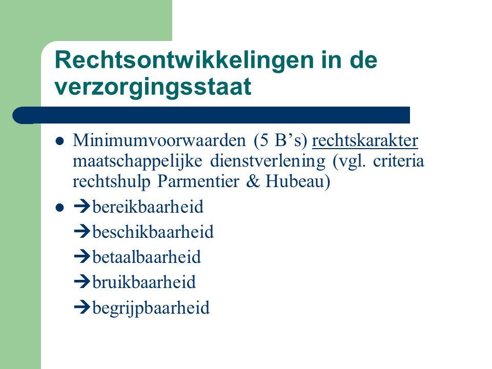 Rechtsontwikkelingen in de verzorgingsstaat Minimumvoorwaarden (5 B's) rechtskarakter maatschappelijke dienstverlening (vgl. criteria rechtshulp Parme