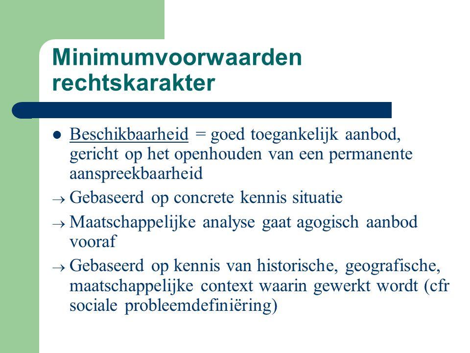 Minimumvoorwaarden rechtskarakter Beschikbaarheid = goed toegankelijk aanbod, gericht op het openhouden van een permanente aanspreekbaarheid  Gebasee