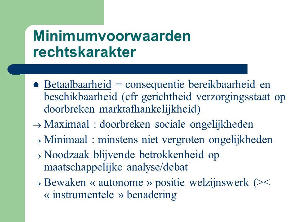 Minimumvoorwaarden rechtskarakter Betaalbaarheid = consequentie bereikbaarheid en beschikbaarheid (cfr gerichtheid verzorgingsstaat op doorbreken mark