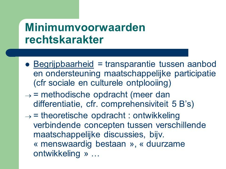 Minimumvoorwaarden rechtskarakter Begrijpbaarheid = transparantie tussen aanbod en ondersteuning maatschappelijke participatie (cfr sociale en culture