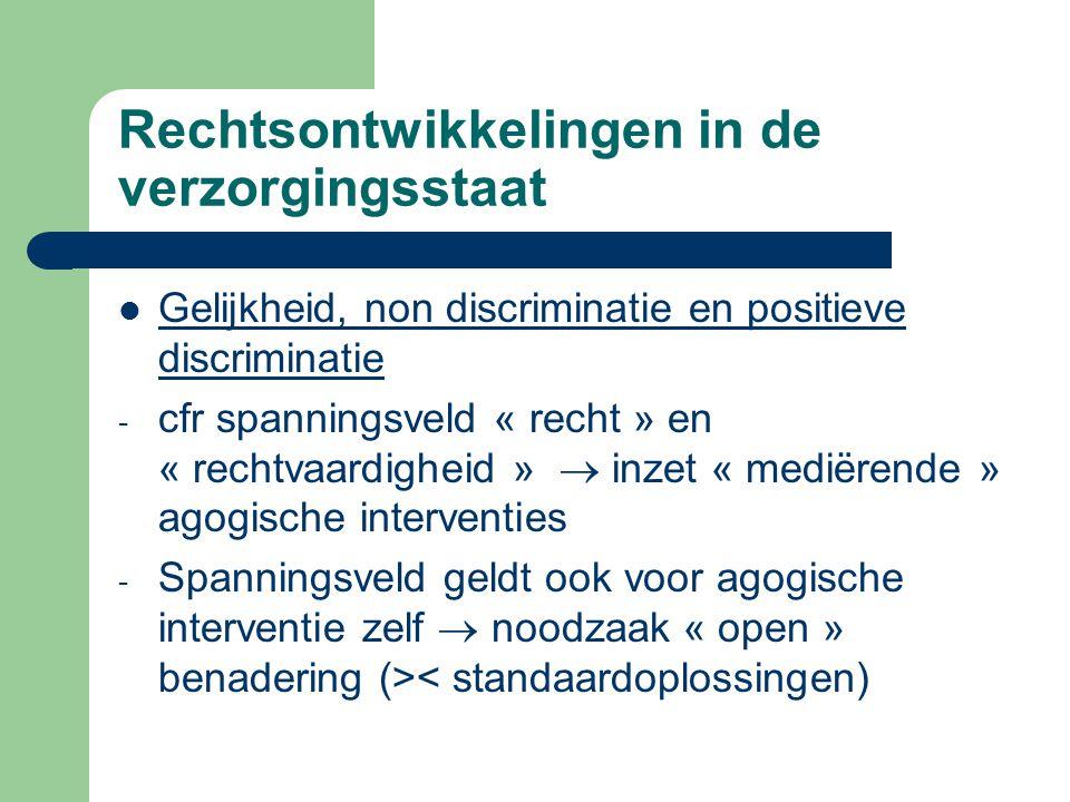 Rechtsontwikkelingen in de verzorgingsstaat Gelijkheid, non discriminatie en positieve discriminatie - cfr spanningsveld « recht » en « rechtvaardighe