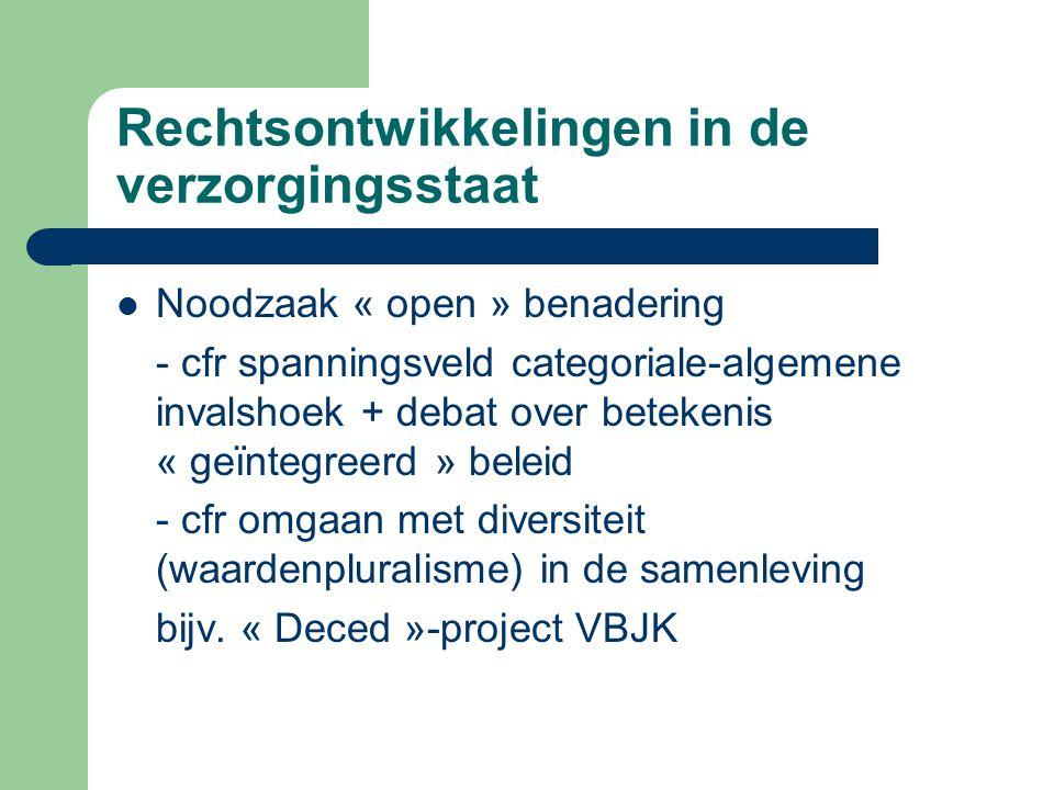 Rechtsontwikkelingen in de verzorgingsstaat Noodzaak « open » benadering - cfr spanningsveld categoriale-algemene invalshoek + debat over betekenis «