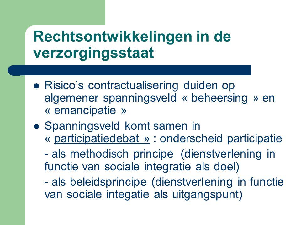 Rechtsontwikkelingen in de verzorgingsstaat Risico's contractualisering duiden op algemener spanningsveld « beheersing » en « emancipatie » Spanningsv