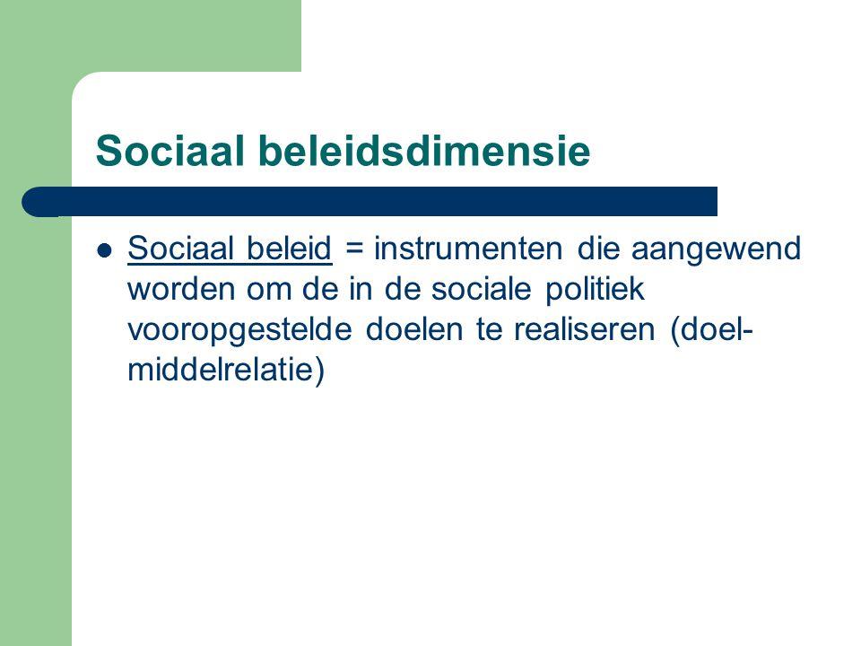 Sociaal beleidsdimensie Sociaal beleid = instrumenten die aangewend worden om de in de sociale politiek vooropgestelde doelen te realiseren (doel- mid