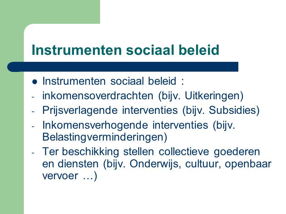 Instrumenten sociaal beleid Instrumenten sociaal beleid : - inkomensoverdrachten (bijv. Uitkeringen) - Prijsverlagende interventies (bijv. Subsidies)