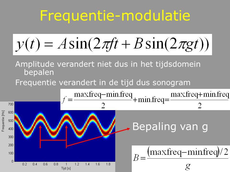 Frequentie-modulatie Amplitude verandert niet dus in het tijdsdomein bepalen Frequentie verandert in de tijd dus sonogram Bepaling van g