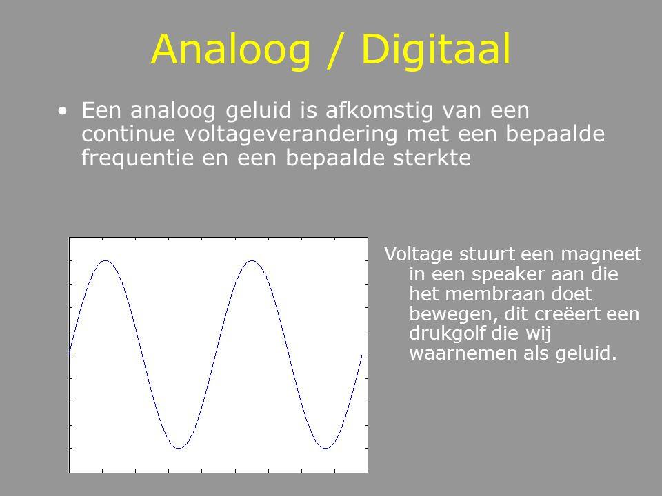 Analoog / Digitaal Een analoog geluid is afkomstig van een continue voltageverandering met een bepaalde frequentie en een bepaalde sterkte Voltage stuurt een magneet in een speaker aan die het membraan doet bewegen, dit creëert een drukgolf die wij waarnemen als geluid.