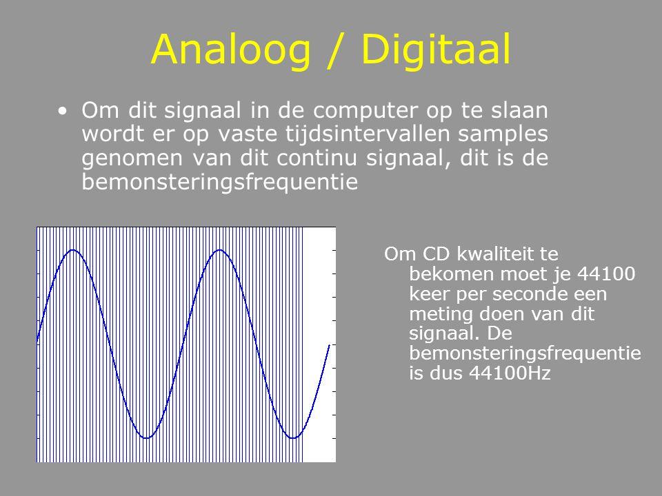Analoog / Digitaal Om dit signaal in de computer op te slaan wordt er op vaste tijdsintervallen samples genomen van dit continu signaal, dit is de bemonsteringsfrequentie Om CD kwaliteit te bekomen moet je 44100 keer per seconde een meting doen van dit signaal.