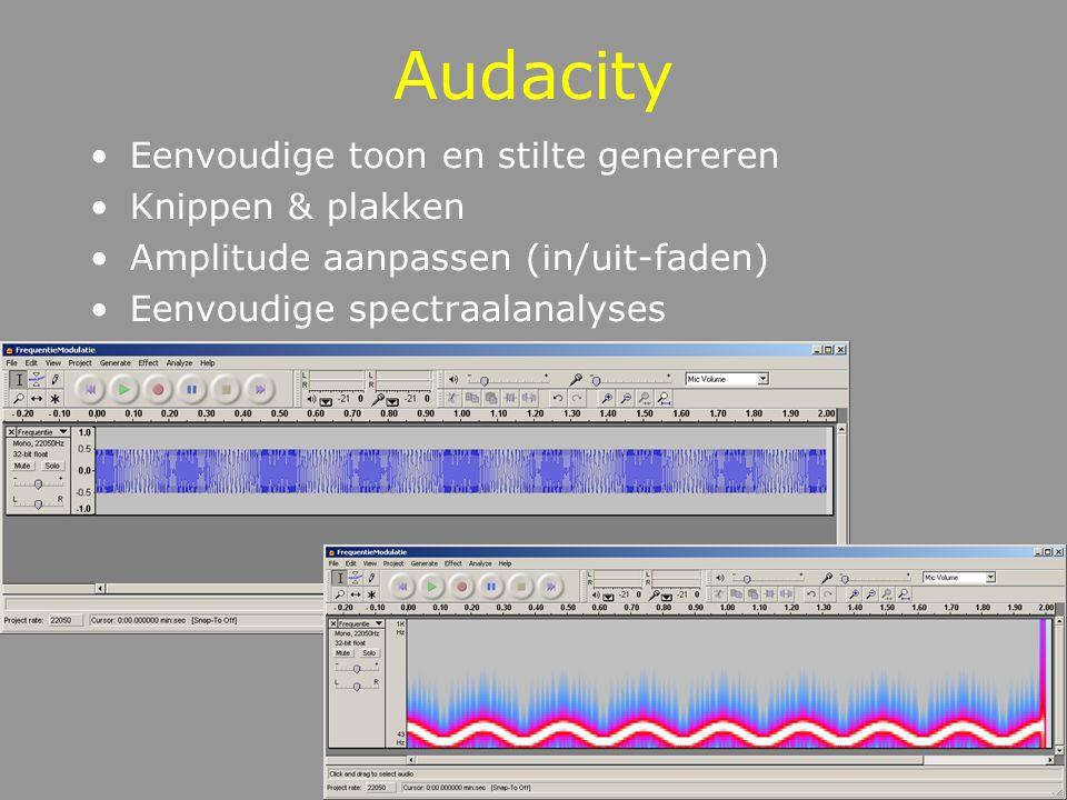 Audacity Eenvoudige toon en stilte genereren Knippen & plakken Amplitude aanpassen (in/uit-faden) Eenvoudige spectraalanalyses