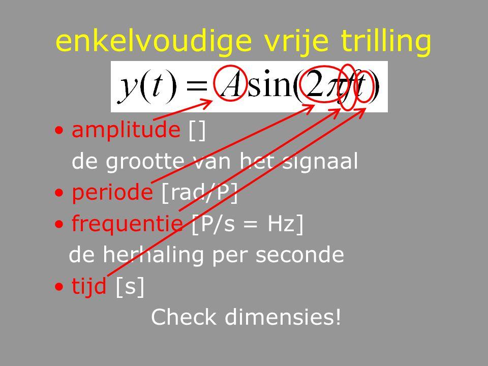 enkelvoudige vrije trilling amplitude [] de grootte van het signaal periode [rad/P] frequentie [P/s = Hz] de herhaling per seconde tijd [s] Check dimensies!
