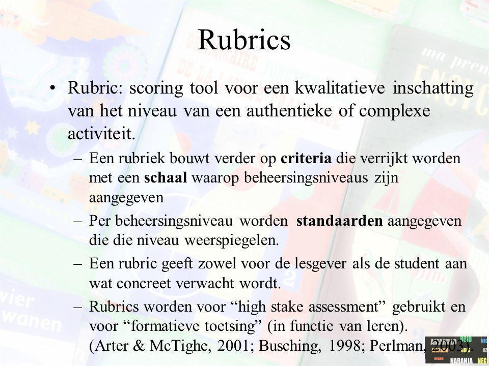 Rubrics Rubric: scoring tool voor een kwalitatieve inschatting van het niveau van een authentieke of complexe activiteit. –Een rubriek bouwt verder op