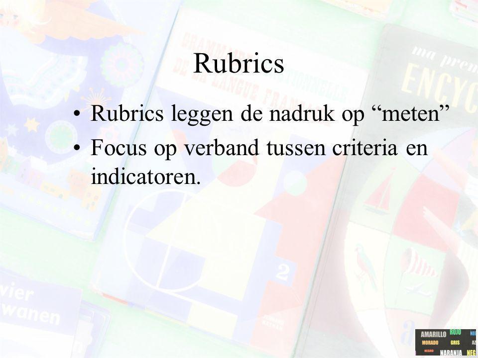 """Rubrics Rubrics leggen de nadruk op """"meten"""" Focus op verband tussen criteria en indicatoren."""