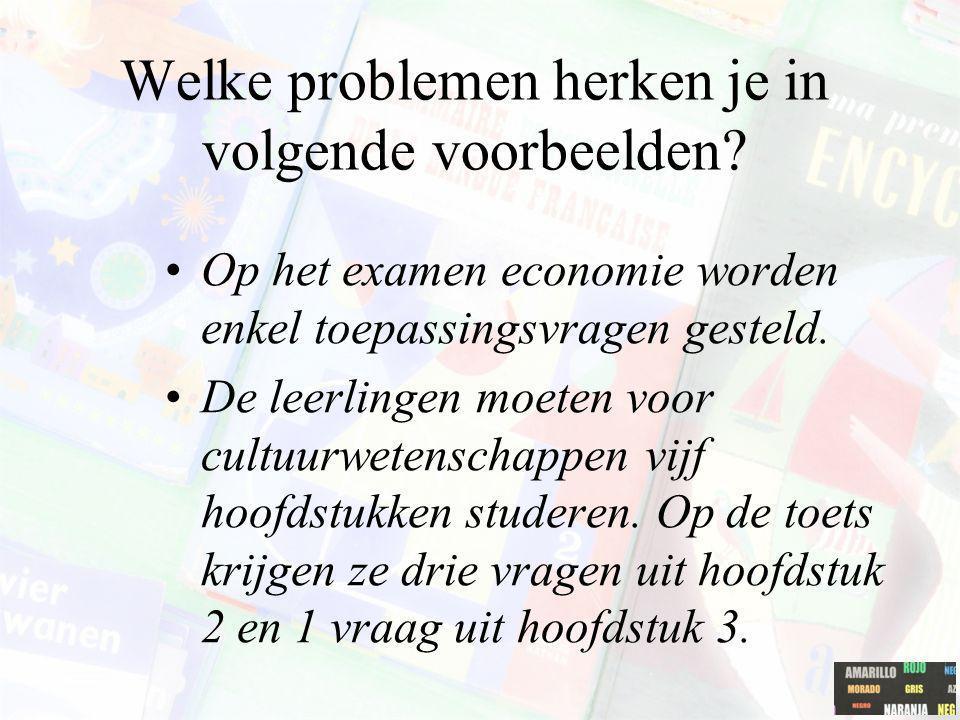 Welke problemen herken je in volgende voorbeelden? Op het examen economie worden enkel toepassingsvragen gesteld. De leerlingen moeten voor cultuurwet