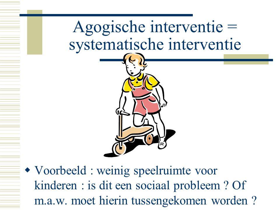 Agogische interventie = systematische interventie  Voorbeeld : weinig speelruimte voor kinderen : is dit een sociaal probleem .