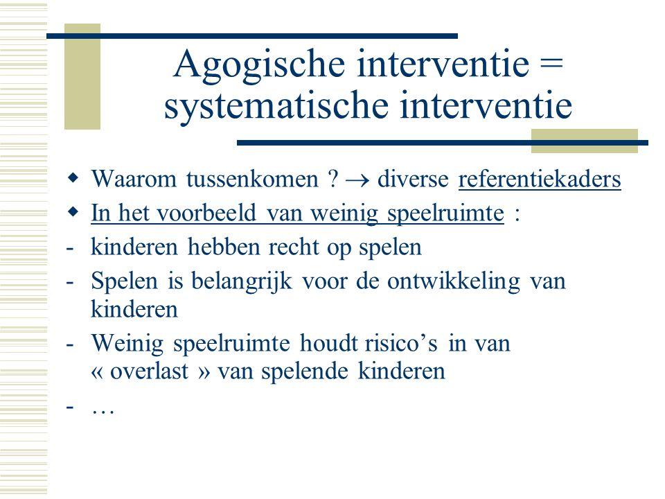 Agogische interventie = systematische interventie  Waarom tussenkomen .